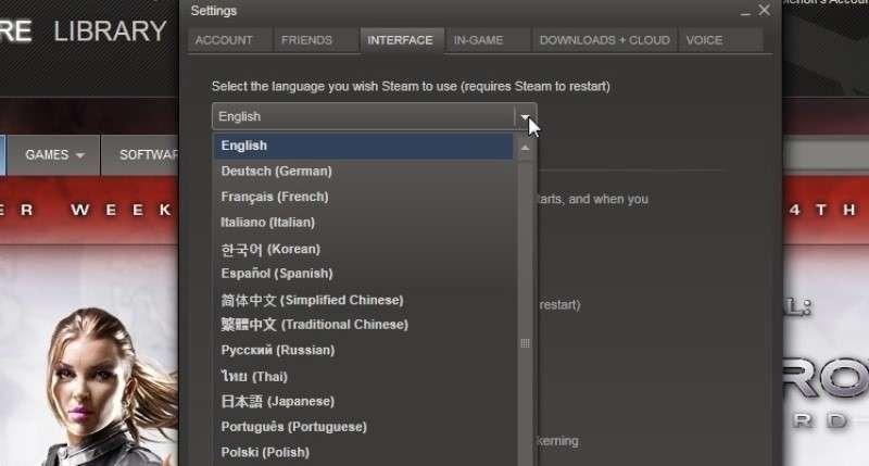 Як поміняти мову в Стиме на російської або англійська: Пара способів