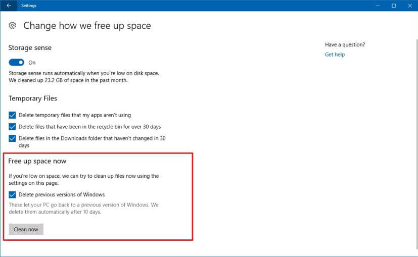 Включение функции очистки старый версий Windows