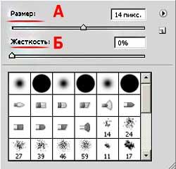 Рисунок 3: установка параметров кисти